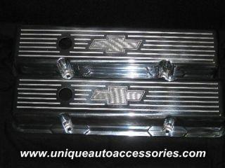 Custom Chevy Bowtie Ball Mill SB Stock Heightpolished Aluminum Valve
