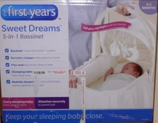 The First Years 5 in 1 Sweet Dreams Bassinet Portable Sleeper Changing