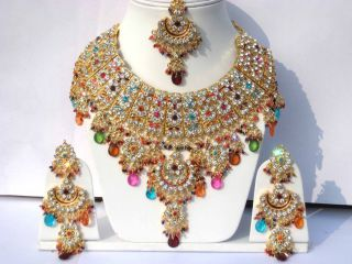 GLAMOUR JODHA AKBAR MULTICOLOR BRIDAL JEWELRY EARRINGS SET