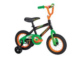 features of huffy 12 inch boys pro thunder bike black boy s