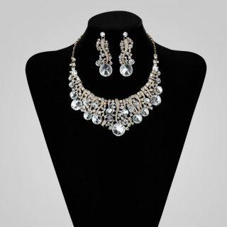 Rhinestone Crystal Bridal Wedding Jewelry Necklace Earring Set Clear