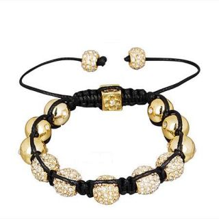 Gold Shamballa Bracelet Disco Ball Pave Bead Crystal Tresor Celebrity