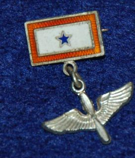 Vintage WWII Son Service Sterling Blue Star Military Pin Mother AAC