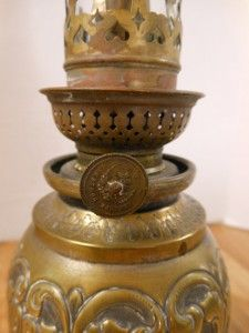 Beautiful Antique Kosmos Brenner Ornate Brass Oil Table Lamp Light