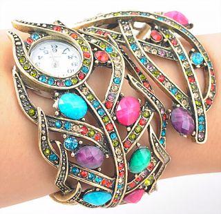 Wholesale 1pcs Color Rhinestone Crystal Cuff Watch Bracelet Bangle