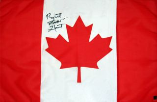 WWE Bret Hart Hand Signed Canadian Flag with Proof COA