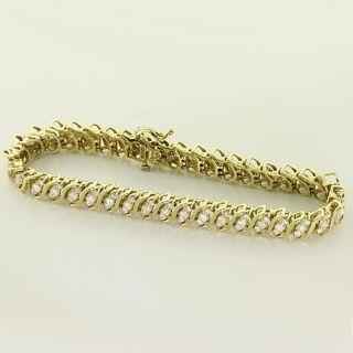 Spectacular Vintage Diamond Yellow Gold Tennis Bracelet