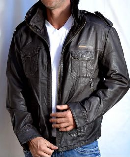 SUPERDRY Brad Mens Leather Motorcycle Jacket Beckham New Dark Brown