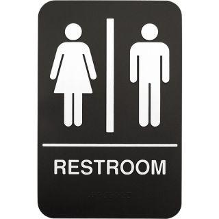 Braille Unisex Plastic Restroom Sign 6 x 9 Bathroom Washroom Lavatory