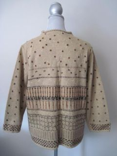 SUSAN BRISTOL Hand Embroidered Wool Blend Tunic Sweater Size XL