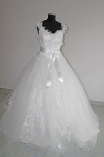 Tulle Empire Short Sleeve Wedding Bridal Gown Lace Up Sz 6 16