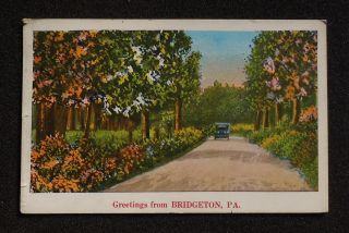 Old Car on Country Road Greetings Bridgeton PA York Co Postcard