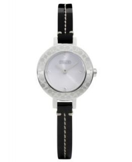 Coach BRIDGIT Black Leather Bracelet Signature Bezel Watch Lady
