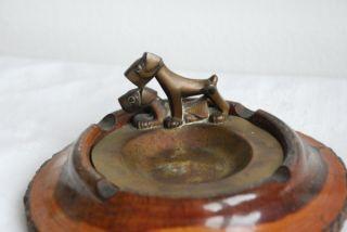 Vintage Fox Terrier Dog Brass Wood Ashtray 1930S