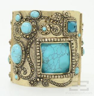 Chicos Brass Cognac & Turquoise Beaded Stretch Cuff Bracelet