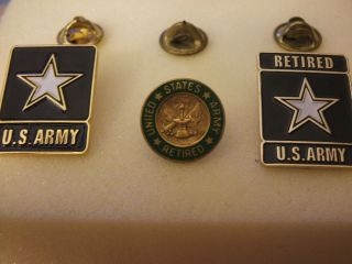 COLLECTIBLES MILITARIA BRASS PINS U.S. ARMY AND TWO U.S. ARMY