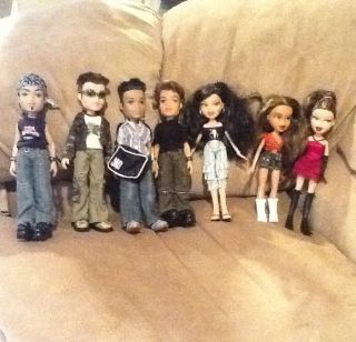 Lot of Seven Bratz Four Boyz and Three Girlz Dolls