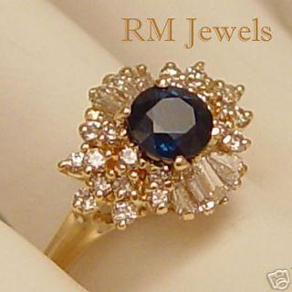 So Beautiful Sapphire Diamond 14kt Gold Vintage Ring