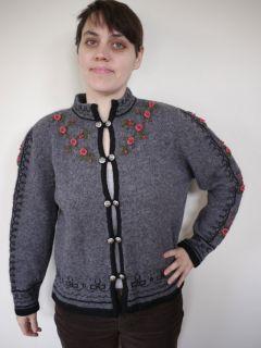 Vintage 1980s Susan Bristol Floral Hand Embroidered Shetland Wool