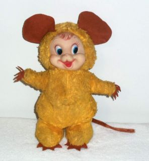 RARE VTG RUSHTON RUBBER FACE FACED PLUSH STUFFED YELLOW MOUSE DOLL SO