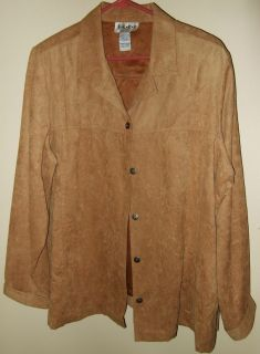 Womens ELCC Tan Button Long Sleeve Shirt Blouse Sz 1x TAMOMS