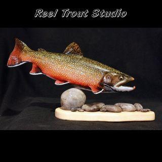 Beautiful Brook Trout Sculpture 14 Pedestal Mount from Original Wood