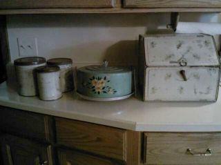 Antique VintageTin bread box cake carrier canister set 1930s Rare