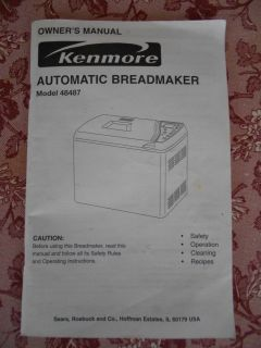 Kenmore Automatic Breadmaker Bread Machine Owners Manual Recipes Model