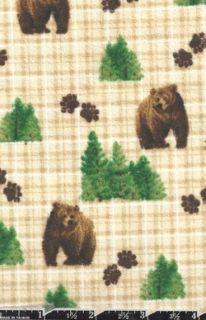 Brown Bears Flannel Fabric Bears Trees Paw Prints Plaid