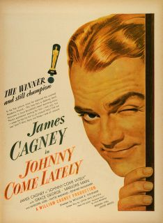 1943 Ad Film Johnny Come Lately Movie James Cagney William Cagney