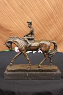 Original Signed Vitaleh Bronze Horse Jockey Race Sculpture Breeders