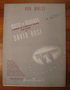 Waltz Sheet Music David Rose Bregman Vocco and Conn Series O