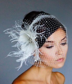 WHITE Rhinestone BROOCH Fascinator Headpiece Rhinestone Bridal VEIL 27