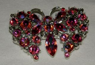 Lisner Signed Butterfly Pin Brooch Pinks and Reds Rhinestones