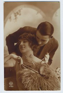 Lady Romance Kiss Love 1910s Real Photo Postcard A01