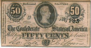 1864 Confederate States Civil War 50 Cent Note Jefferson Davis Crisp
