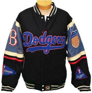 Brooklyn Dodgers Reversible Wool Blend Leather Jacket