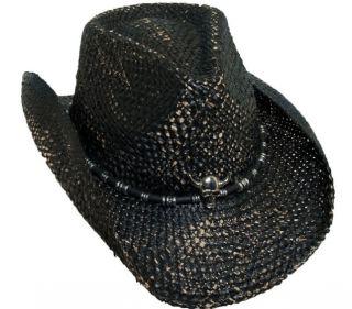 Bret Michaels Black Western Cowboy Hat Skull Concho
