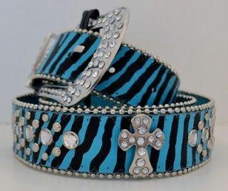 Zebra Stripe Cowgirl Style Aqua Blue Cross Rhinestone Crystal Western