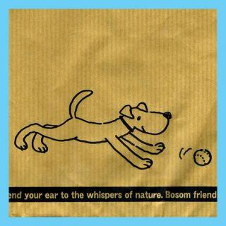 Classic Ribbed Kraft Paper Brown Gift Bag Dog 25pc