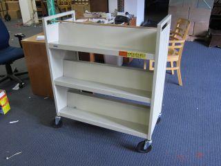 Bretford Steel Double Sided Metal Rolling Three Shelf Book Truck
