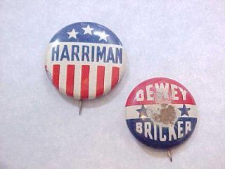 search dewey bricker president 1944 campaign pin harriman