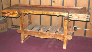 antique workbench country woodworker bench  1175 00