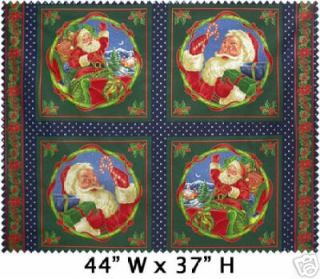 Here Comes Santa Cotton Fabric Pillow Panels Blocks