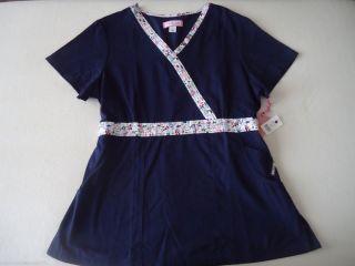 Womens Koi Jamie Navy Floral Trim Scrub Top Sz XL New