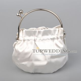 Lady Wedding Party White Four Tiered Floral Satin Bridal Handbag with