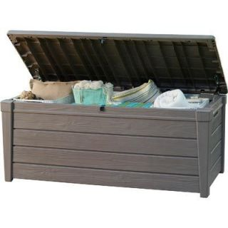 Keter Brightwood Deck Box LARGE BROWN RESIN STRONG STORAGE DECK OR