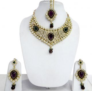 Bollywood Traditional Women Necklace Earring Tikka Set Bridal Jewelry