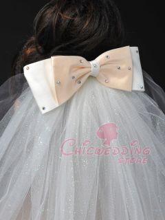Glitter Rhinestone Elbow Length Bridal Wedding Veil Bow Ribbon