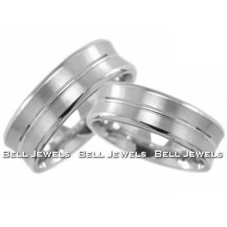 5mm Matching Brushed Wedding Bands Set 14k White Gold Rings Satin